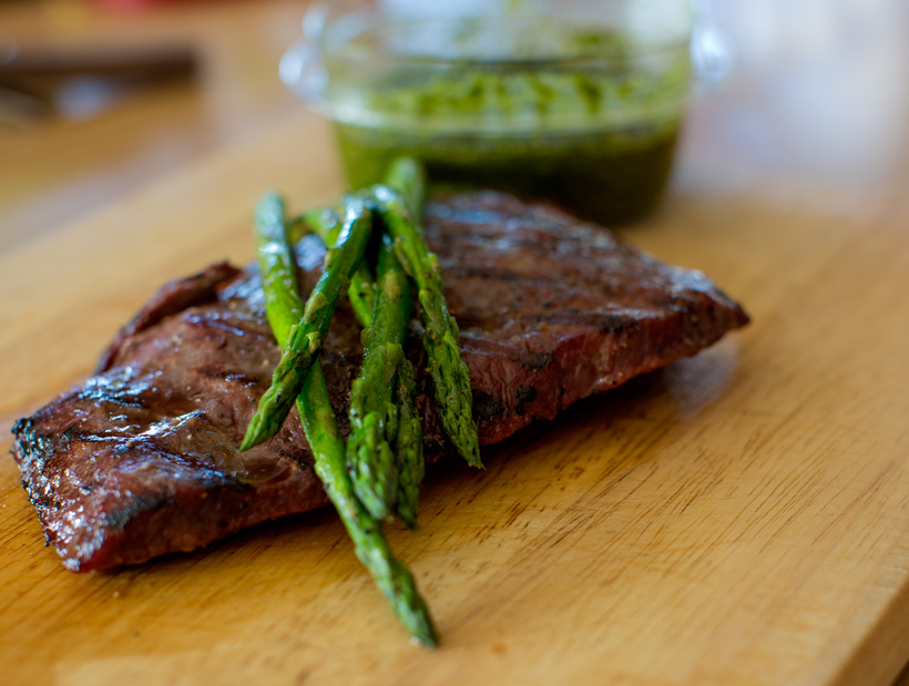 Grilled Flat Iron Steaks with Chimichurri Sauce » Get Off Your Butt ...