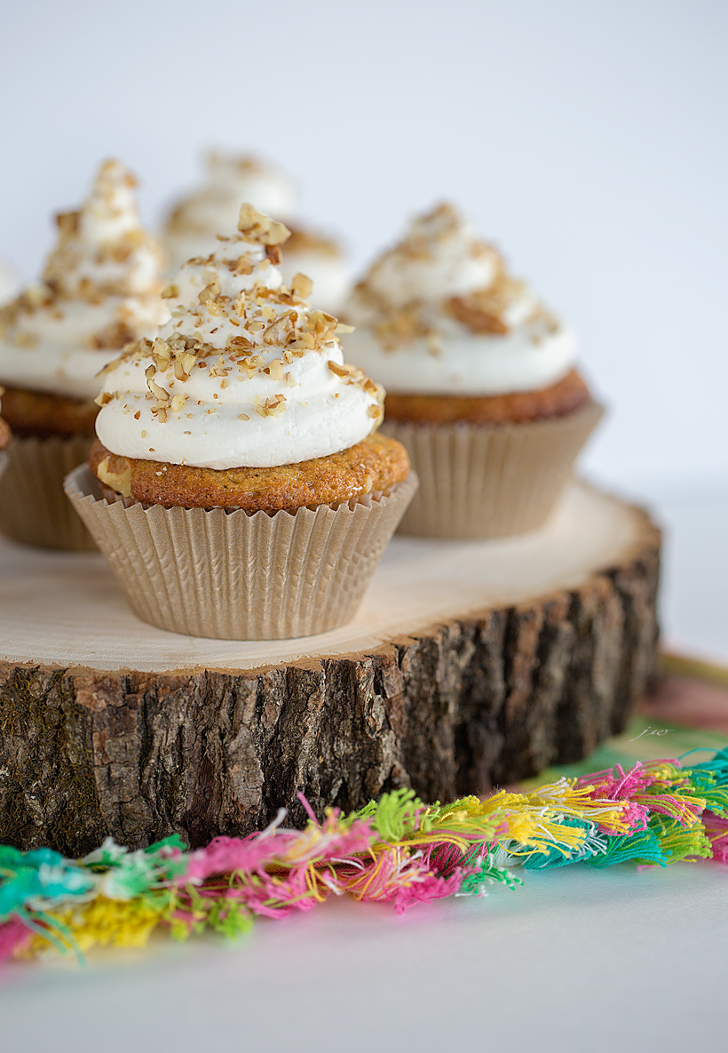 Carrot Cake Cupcakes With Whipped Cream Cream Cheese